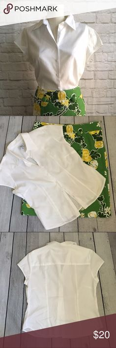 "LOFT White Cotton Shirt Excellent condition white cotton cap sleeve blouse fro Ann Taylor Loft. Bust darts and princess seaming give  a tailored fit. 19"" underarm to underarm, 23"" collar to back hem length. 100% cotton. LOFT Tops Button Down Shirts"