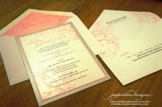 PEONY Wedding Invitation  Pink Silver and by PaperblissDesigns, $5.00