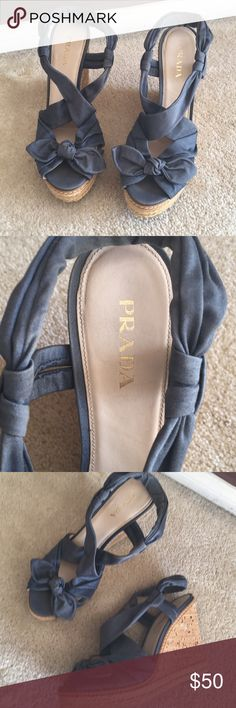 Prada Wedges Blue size 10 Size 42 Prada wedges the size is 42 but fits more like a US size 10.   Comfortable Prada Shoes Wedges