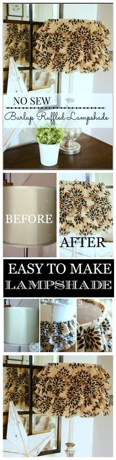 NO SEW RUFFLED BURLAP LAMPSHADE-Dig out those old lampshades and upscale them-stonegableblog.com