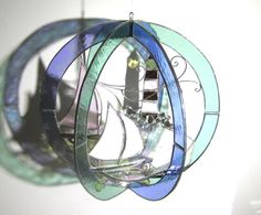 Windswept Sails - Stained Glass 3D Sphere by katiediditglass