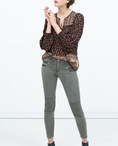 ZIPPED MOTO JEANS-View all-Trousers-WOMAN | ZARA United States