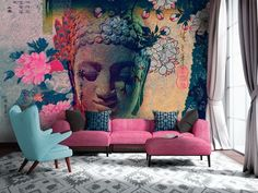 Boho mural is so amazing in such a large scale and covering the whole wall✨oh... and that pink sofa!