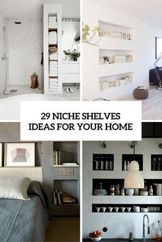 If you are tired of cabinets and want your rooms to have a little more air and space it's time to look for unconventional ideas. A modern space can look really different from your average cabinet-based design and yet be quite functional, especially for a small space. You can store literally everything with these shelves...