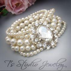 Multi Strand Pearl Bridal Cuff Bracelet - from T's Studio Jewelry