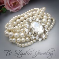 Multi Strand Pearl Bridal Cuff Bracelet - from T's Studio Jewelry