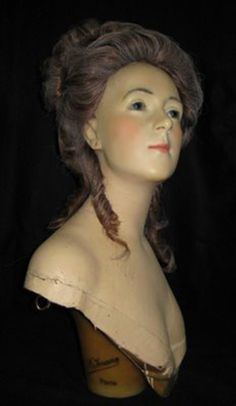 Antique French wax mannequin bust by Pierre Imans