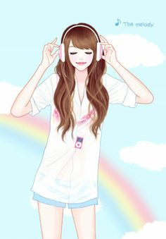 this is a perfect cartoon drawing of me cause I don't wear my glasses when I have headphones on
