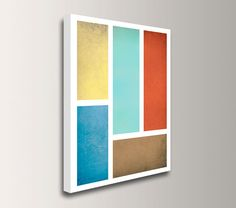 """Art Print on Canvas - Mid Century Modern - Gallery Wrapped Canvas Print - Blue Red Aqua & Yellow - """"Connection"""""""