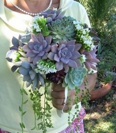 rustic country outdoor green white baby breath flowers bouquet bride succulent cascade posy