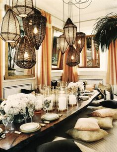 Viyet Style Inspiration | Dining Room, tablescape | Bohemian chic interior, floor cushions, Moroccan lanterns