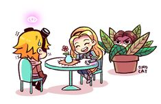 League of Legends: Lux x Ezreal.  Lol. I love how Garren is in the bush. XD