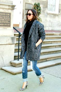 Nicole Miller Women&39s Herringbone Tweed Low Belted Coat by Nicole
