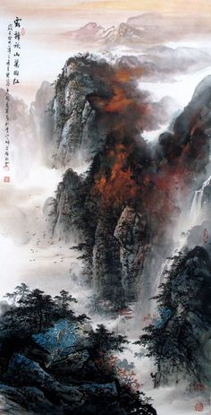 Splash color Mountains Landscape Chinese Ink Brush Painting, Splashing color of landscape paintings 137x68cm Chinese wall scroll painting Artist original works handwriting Rice paper Traditional art painting. USD $ 1475.00