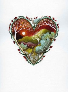 Valentine heart art print. 'Rising Moon'. By by earthangelsarts, £15.00 copyright Amanda Clark