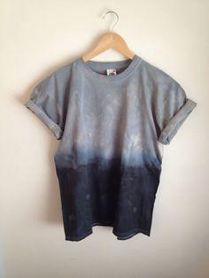 Dip Dye Tie Dye T-Shirt Unisex, Grey and Black/Navy