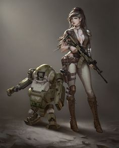 Scout team / Ley Bowen 张 Fantasy Character Design, Character Concept, Character Inspiration, Character Art, Concept Art, Cyberpunk Character, Cyberpunk Art, Fantasy Art Women, Fantasy Girl