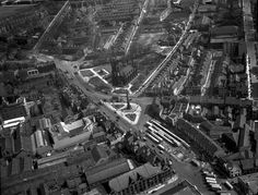 Aerial view of Haymarket, Newcastle upon Tyne, May 1948 (TWAM ref. DT.TUR/2/1484J). This area has changed a lot since this photograph was taken. There's a new bus station and of course a Metro station, while Newcastle Civic Centre has been built where housing once stood. From the collection of Tyne & Wear Archives.