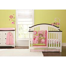 Just Born Sassy Safari 6 Piece Crib Set (comforter, fitted sheet, dust ruffle, musical mobile, wearable blanket and changing pad cover)$139.99