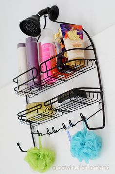 Put suction cups to the back of the shower organizer to keep it in place