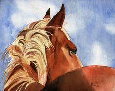 Palomino Equine Horse Art PRINT Watercolor by rachelsstudio - Palomino Sky