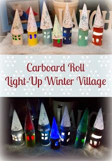 Cardboard Roll Light-Up Winter Village from Life with Moore Babies