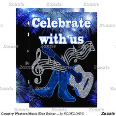 Country Western Music Blue Guitar And Cowboy Boots Card Custom invitations - Make your special day with these personalized change the colors font and images and make them your own. Beach Theme Wedding Invitations, Wedding Stationary, Shower Invitations, Music Themed Parties, Music Party, Wedding Pins, Gold Wedding, Wedding Ideas, Daddy Birthday