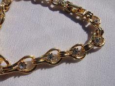 gold tone bracelet white rhinestones made in by treasures4youreyes