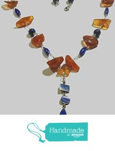 Baltic Amber with Lapis Lazuli Necklace and Freshwater Pearls on .925 Sterling Silver Chain from Jewelry by RayeEllen http://www.amazon.com/dp/B015KX5AF6/ref=hnd_sw_r_pi_dp_Osshwb11D6CNQ #handmadeatamazon