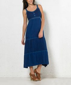 This Jean Blue Embroidered Button-Front Maxi Dress is perfect! #zulilyfinds