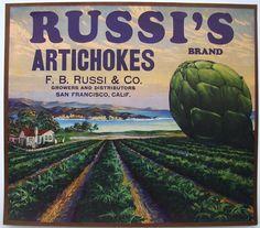 RUSSIS Vintage Artichoke Crate Label