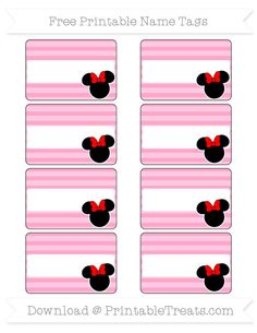 Free Carnation Pink Horizontal Striped  Minnie Mouse Name Tags
