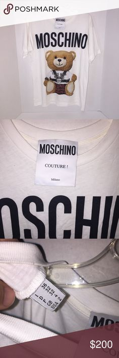 """Moschino Teddy Bear Couture Shirt sz 2/32 New no tags mannequin item , size is us 2 women's shirt , pit to pit is 21"""" inches across Moschino Tops Tees - Short Sleeve"""