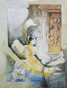 One of my favourite paintings of a bharatanatyam dancer (by: Shahul Kollengode)