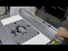 How to install router plate in table diy pinterest router ridgid r4513 contractors table saw router table insert fence youtube greentooth Choice Image