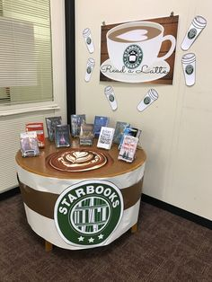 Starbooks Starbucks Read A Latte. Made with a Canon eColor Scan Click Print Poster Maker from Presentation Systems and . Library Signs, Library Themes, Library Posters, Library Bulletin Boards, Library Activities, Library Programs, Library Ideas, Library Decorations, Library Rules