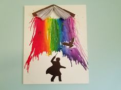 DIY Harry Potter inspired melted crayon art.
