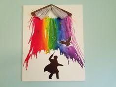 DIY Harry Potter-Inspired Melted Crayon Art #harry #potter #melted #crayon #art #rainbow #hedwig #unique #handmade #book