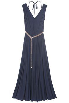 Blue Sleeveless Metal Belt Pleated Silk Dress.