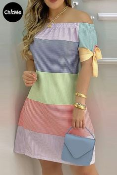 Casual Dresses, Fashion Dresses, Dresses For Work, Off Shoulder Casual Dress, Shoulder Dress, Simple Outfits, Stylish Outfits, African Print Fashion, Colorful Fashion