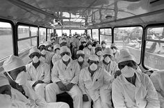 CHERNOBYL AND IT'S LEGACY: TO WORK UNDER A TOXIC CLOUD.  When the Chernobyl plant was shut down, it was nevertheless necessary to assure its maintenance and surveillance. Employees head off by bus to begin another day's work in a highly contaminated environment.