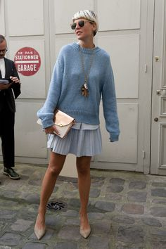 Ready for #SS17 ...baby blue. #ElisaNalin in Paris. This monochromatic outfit is perfect for SS17... The rose gold clutch gives this life!