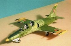 This aircraft paper model is an Aero Albatros, a high-performance jet trainer aircraft developed in Czechoslovakia to meet requirements for a d Diy And Crafts, Crafts For Kids, Paper Crafts, Papercraft Download, Paper Magic, Paper Models, Paper Toys, Free Paper, Paper Art