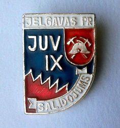 Latvian JUV firefighting organisation 9th fire team rally - vintage pin badge