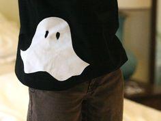 DIY stenciled ghost t-shirt