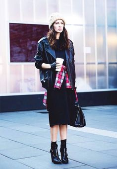 Edgy fall vibes with leather moto jacket, flannel and heeled ankle boots.