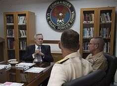 Secretary of the Navy (SECNAV) Ray Mabus meets with Major General Robert F. Hedelund Commander, U.S. Marine Corps Forces Korea and  Rear Adm. Bill Byrne, Commander of U.S. Naval Forces Korea (CNFK) in Seoul.  Mabus is in the region to meet with Sailors and Marines, and civilian and military officials, as part of a multi-nation visit to the U.S. Pacific region.  U.S. Navy photo by Chief Mass Communication Specialist Sam Shavers (Released)  160819-N-AC887-012