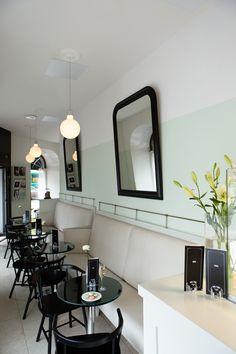One tiny champagne bar, Helsinki, Finland (Joanna Laajisto) Greens Restaurant, Cafe Restaurant, Restaurant Design, Retail Interior, Cafe Interior, Interior Design, Design Café, Cafe Design, Cafe Bistro