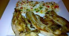 Chuletas de pavo con arroz