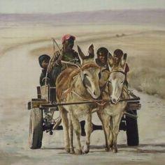 donkey cart art Horse Paintings, Animal Paintings, Diy Canvas Art, Donkeys, Mosaic Art, Serendipity, African Art, Cattle, Animals Beautiful